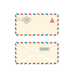 paper postage envelope with stamps realistic vector image