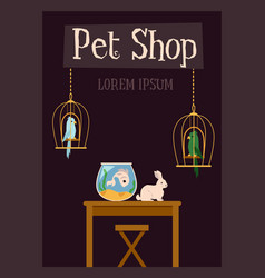 Pet shop banner template with domestic animals vector