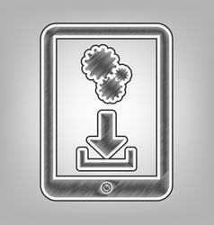 Phone icon with settings symbol pencil vector