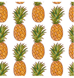 Pineapples pattern hand drawn seamless texture on vector