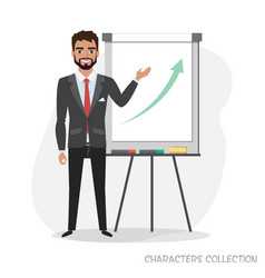 Presentation on flip chart paper a man holds a vector