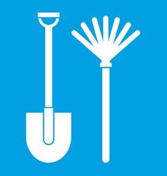 Rake and shovel icon white vector