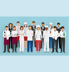 restaurant team concept in uniform group of vector image
