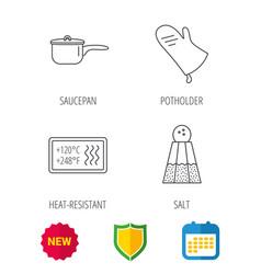 Saucepan potholder and salt icons vector