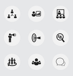 set of 9 editable team icons includes symbols vector image