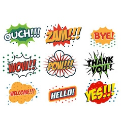 Set of comic speech bubbles in trendy fla style vector