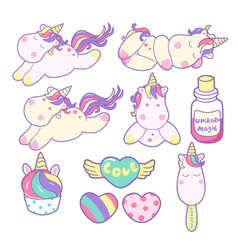 set of unicorns and different magic elements vector image