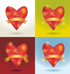Set Red glossy shiny heart 3d and gold ribbon Love vector image