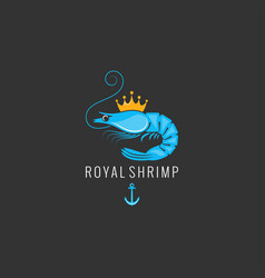 shrimp logo on black background vector image