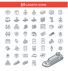 simple set logistics package delivery icon vector image
