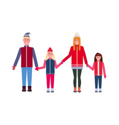 skaters family wearing winter clothes parents with vector image