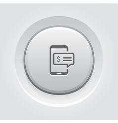 SMS Notification Icon Grey Button Design vector image