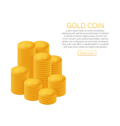 stacks gold coins the concept profit web vector image