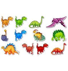 Sticker set with different types dinosaurs vector