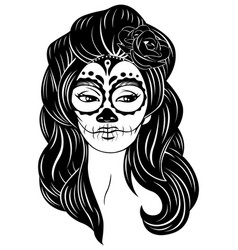 sugar skull lady vector image