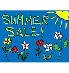 Summer sale with sun and flowers doodle vector image