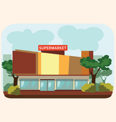Supermarket building standing on the street food vector