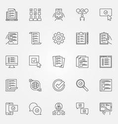 Survey icons set checklist to do list vector