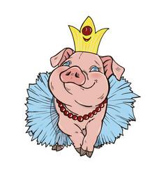the pig princess vector image