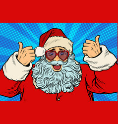 thumbs up santa claus in pink heart glasses vector image