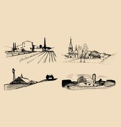 Village landscapes set hand vector