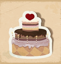 Vintage card with a cake on Valentines Day eps10 vector image vector image