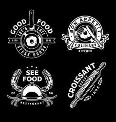 vintage monochrome cooking designs vector image
