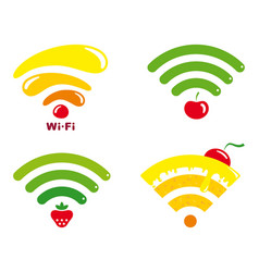 Wi-fi icons with symbols of fruit and sweets vector