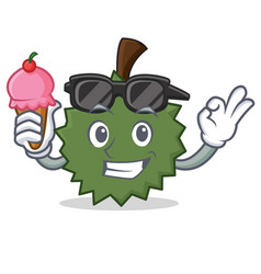 With ice cream durian character cartoon style vector