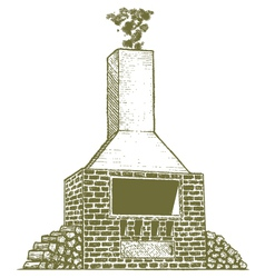 Woodcut Brick Oven vector