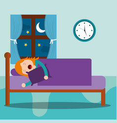 young girl asleep in bed hug a pillow at night vector image