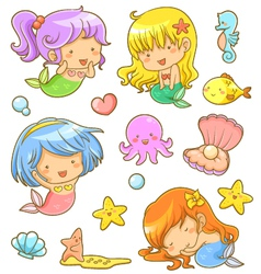 cute mermaids collection vector image