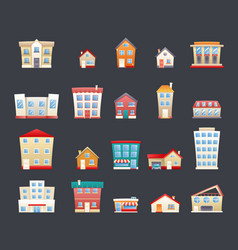 modern trendy retro house street flat icons set vector image