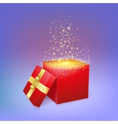 Open gift box with magic light fireworks vector image