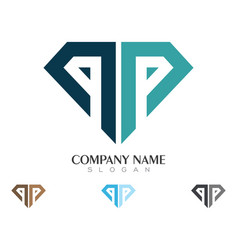 p letter with diamond logo vector image