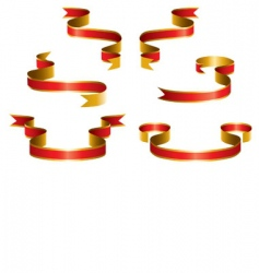 set red ribbon vector image vector image