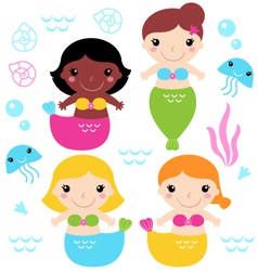 Adorable little Mermaid set isolated on white vector image