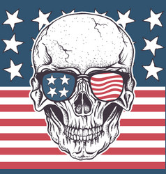 american skull in sunglasses on usa flag vector image vector image