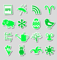 april month theme set of simple stickers eps10 vector image vector image