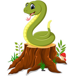 cartoon funny snake on tree stump vector image vector image