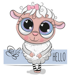 Cute sheep on a white background vector