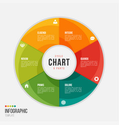 cycle chart infographic template with 6 parts vector image vector image