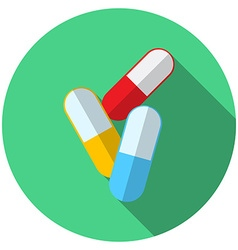 Flat design modern of medical pills icon with long vector image vector image
