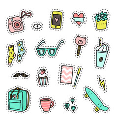 Hipster pack set of objects vector