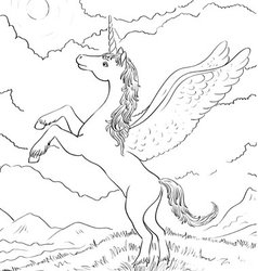horse coloring vector image vector image