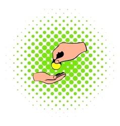 A hand giving a coin icon comics style vector image vector image