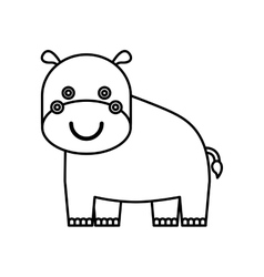 cute hippo animal isolated icon vector image vector image