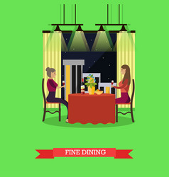 fine dining concept in flat vector image