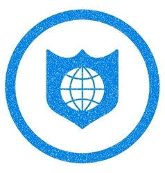 Global Shield Rounded Icon Rubber Stamp vector image vector image