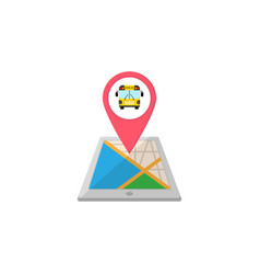 school bus map pointer flat icon mobile gps vector image vector image